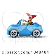 Clipart Of A 3d Funky Clown Giving A Thumb Down And Driving A Blue Convertible Car To The Left Royalty Free Illustration