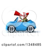 Clipart Of A 3d Funky Clown Using A Megaphone And Driving A Blue Convertible Car To The Left Royalty Free Illustration