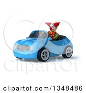 Clipart Of A 3d Funky Clown Driving A Blue Convertible Car To The Left Royalty Free Illustration