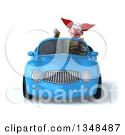 Clipart Of A 3d Funky Clown Giving A Thumb Down And Driving A Blue Convertible Car Royalty Free Illustration