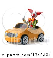 Clipart Of A 3d Funky Clown Giving A Thumb Up And Driving A Yellow Convertible Car To The Left Royalty Free Illustration
