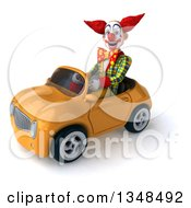 Clipart Of A 3d Funky Clown Driving A Yellow Convertible Car To The Left Royalty Free Illustration