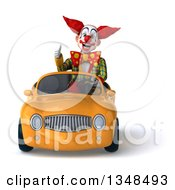 Clipart Of A 3d Funky Clown Giving A Thumb Up And Driving A Yellow Convertible Car Royalty Free Illustration
