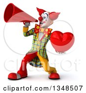 Clipart Of A 3d Funky Clown Holding A Love Heart And Using A Megaphone Royalty Free Illustration