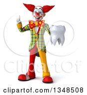 Clipart Of A 3d Funky Clown Holding Up A Finger And A Tooth Royalty Free Illustration