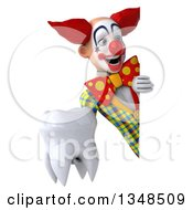 Clipart Of A 3d Funky Clown Holding A Tooth Around A Sign Royalty Free Illustration