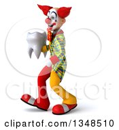 Clipart Of A 3d Funky Clown Holding A Tooth And Walking To The Left Royalty Free Illustration