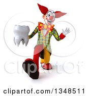 Clipart Of A 3d Funky Clown Holding A Tooth Speed Walking And Waving Royalty Free Illustration