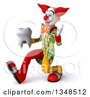 Clipart Of A 3d Funky Clown Holding A Tooth Speed Walking To The Left And Waving Royalty Free Illustration