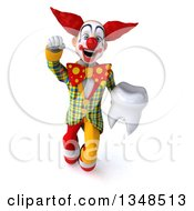 Clipart Of A 3d Funky Clown Holding A Tooth And Flying Royalty Free Illustration