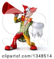 Clipart Of A 3d Funky Clown Holding A Tooth And Using A Megaphone Royalty Free Illustration