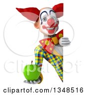 Clipart Of A 3d Funky Clown Holding A Green Apple Around A Sign Royalty Free Illustration