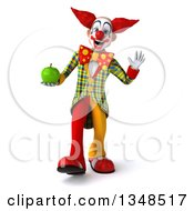 Clipart Of A 3d Funky Clown Holding A Green Apple Walking And Waving Royalty Free Illustration