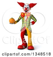 Clipart Of A 3d Funky Clown Holding A Navel Orange Royalty Free Illustration