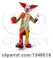 Clipart Of A 3d Funky Clown Holding A Strawberry Walking And Waving Royalty Free Illustration