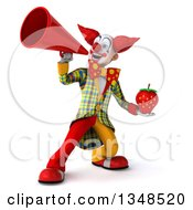 Clipart Of A 3d Funky Clown Holding A Strawberry And Using A Megaphone Royalty Free Illustration