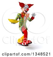 Clipart Of A 3d Funky Clown Holding A Banana Walking And Waving Royalty Free Illustration