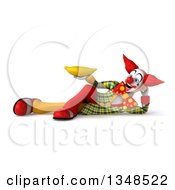 Clipart Of A 3d Funky Clown Holding A Banana And Resting On His Side Royalty Free Illustration