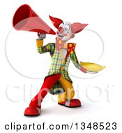 Clipart Of A 3d Funky Clown Holding A Banana And Using A Megaphone Royalty Free Illustration