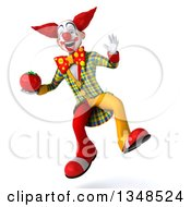Clipart Of A 3d Funky Clown Holding A Tomato And Jumping Royalty Free Illustration