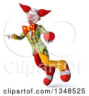 Clipart Of A 3d Funky Clown Holding A Tomato Flying And Pointing Royalty Free Illustration