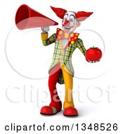 Clipart Of A 3d Funky Clown Holding A Tomato And Using A Megaphone Royalty Free Illustration