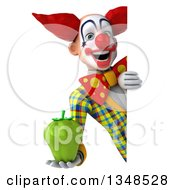 Clipart Of A 3d Funky Clown Holding A Green Bell Pepper Around A Sign Royalty Free Illustration