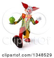 Clipart Of A 3d Funky Clown Holding A Green Bell Pepper Walking And Waving Royalty Free Illustration by Julos