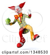 Clipart Of A 3d Funky Clown Holding A Green Bell Pepper And Jumping Royalty Free Illustration