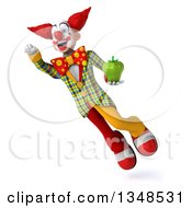 Clipart Of A 3d Funky Clown Holding A Green Bell Pepper And Flying Royalty Free Illustration