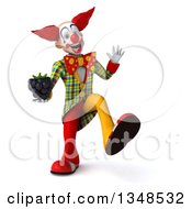 Clipart Of A 3d Funky Clown Holding A Blackberry Walking And Waving Royalty Free Illustration