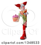 Clipart Of A 3d Full Length Funky Clown Holding A Cupcake By A Sign Royalty Free Illustration
