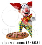 Clipart Of A 3d Funky Clown Holding A Pizza Around A Sign Royalty Free Illustration