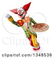 Clipart Of A 3d Funky Clown Holding A Pizza And Flying Royalty Free Illustration