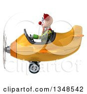 Clipart Of A 3d Funky Clown Aviator Pilot Flying A Yellow Airplane To The Left Royalty Free Illustration