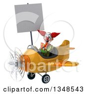 Clipart Of A 3d Funky Clown Aviator Pilot Holding A Blank Sign And Flying A Yellow Airplane To The Left Royalty Free Illustration