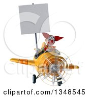 Clipart Of A 3d Funky Clown Aviator Pilot Holding A Blank Sign And Flying A Yellow Airplane Royalty Free Illustration