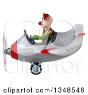 Clipart Of A 3d Funky Clown Aviator Pilot Flying A White And Red Airplane To The Left Royalty Free Illustration