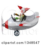 Clipart Of A 3d Funky Clown Aviator Pilot Giving A Thumb Down And Flying A White And Red Airplane To The Left Royalty Free Illustration