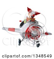 Clipart Of A 3d Funky Clown Aviator Pilot Flying A White And Red Airplane Royalty Free Illustration