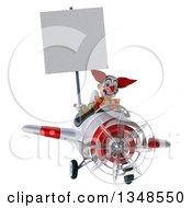 Clipart Of A 3d Funky Clown Aviator Pilot Holding A Blank Sign And Flying A White And Red Airplane Royalty Free Illustration