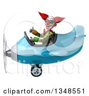 Clipart Of A 3d Funky Clown Aviator Pilot Wearing Sunglasses Giving A Thumb Up And Flying A Blue Airplane To The Left Royalty Free Illustration by Julos