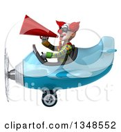 Clipart Of A 3d Funky Clown Aviator Pilot Wearing Sunglasses Using A Megaphone And Flying A Blue Airplane To The Left Royalty Free Illustration