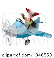 Clipart Of A 3d Funky Clown Aviator Pilot Wearing Sunglasses Giving A Thumb Down And Flying A Blue Airplane To The Left Royalty Free Illustration by Julos