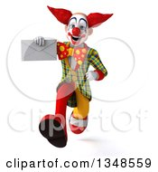 Clipart Of A 3d Funky Clown Holding An Envelope And Sprinting Royalty Free Illustration