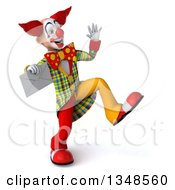 Clipart Of A 3d Funky Clown Holding An Envelope Dancing And Waving Royalty Free Illustration by Julos