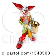 Clipart Of A 3d Funky Clown Playing A Saxophone Royalty Free Illustration by Julos
