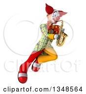 Clipart Of A 3d Funky Clown Playing A Saxophone And Flying Royalty Free Illustration by Julos