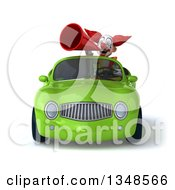 Clipart Of A 3d Funky Clown Using A Megaphone And Driving A Green Convertible Car Royalty Free Illustration