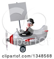 Clipart Of A 3d White And Black Clown Aviator Pilot Holding A Blank Sign And Flying An Airplane To The Left Royalty Free Illustration by Julos